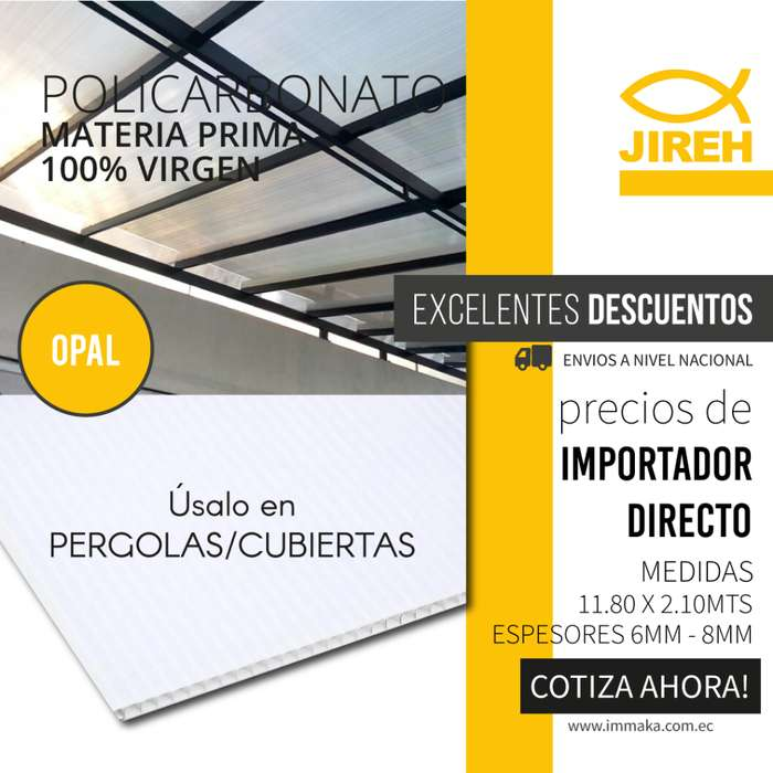 Policarbonato Jireh Blanco 6mm en Quito, Techos, Alucobond, Acrílico, Cielo raso PVC