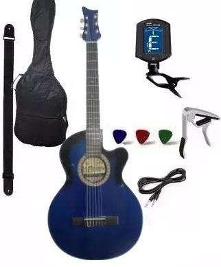 <strong>guitarra</strong> Electroacustica Afinador Forro Capo Correa Puas
