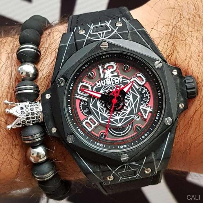 Reloj Hublot negro y rojo para hombre