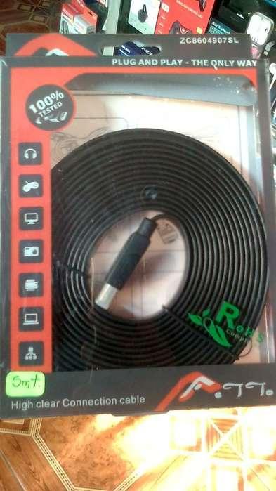 CABLE HDMI 5 METROS PLANO.Hasta 1080p 3D. Excelente calidad.