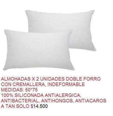 set x 2 almohadas en silicona antialergica