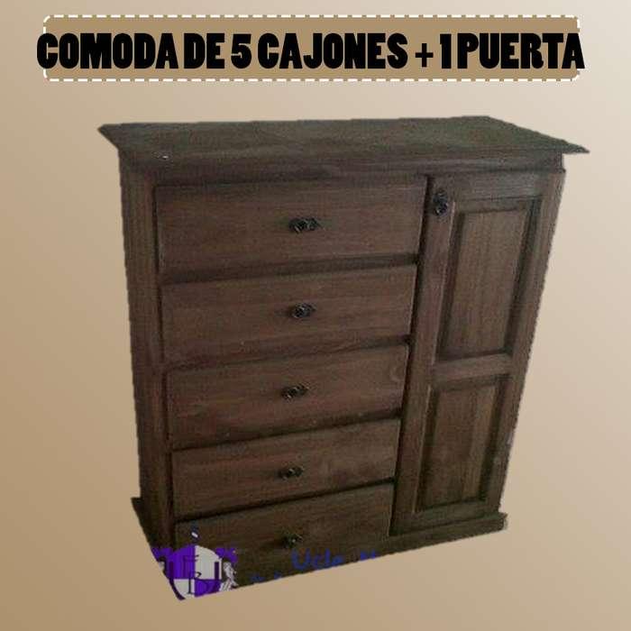 COMODA DE 5 CAJONES 1 PUERTA
