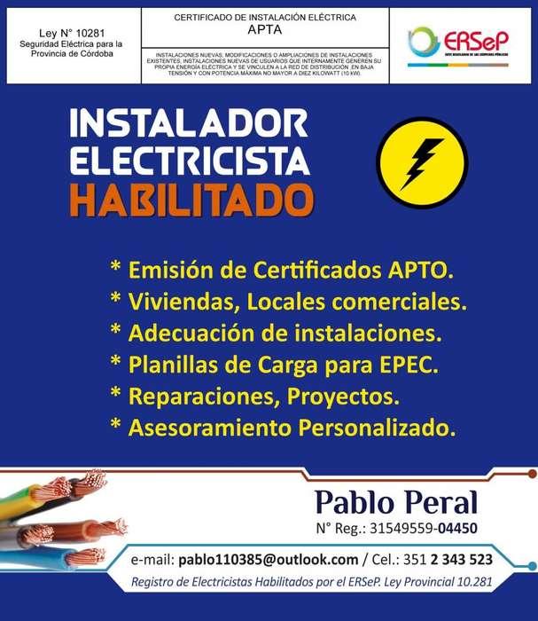 ELECTRICISTA HABILITADO POR LEY 10.281