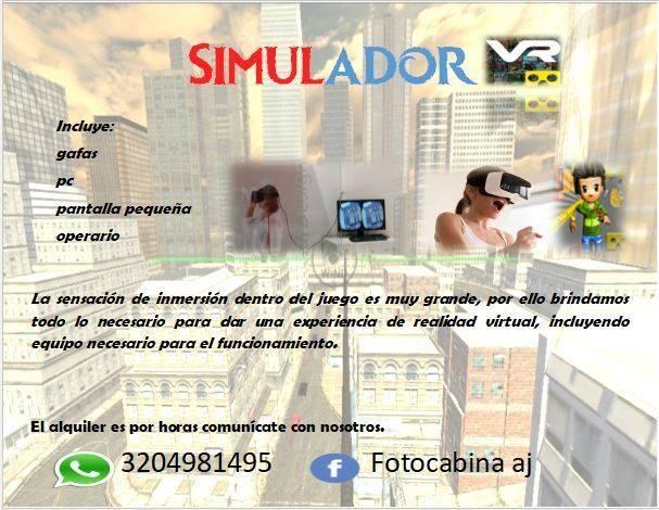 Alquiler de simulador realidad virtual / VR Para eventos, fiestas infantiles , familiares y corporativos