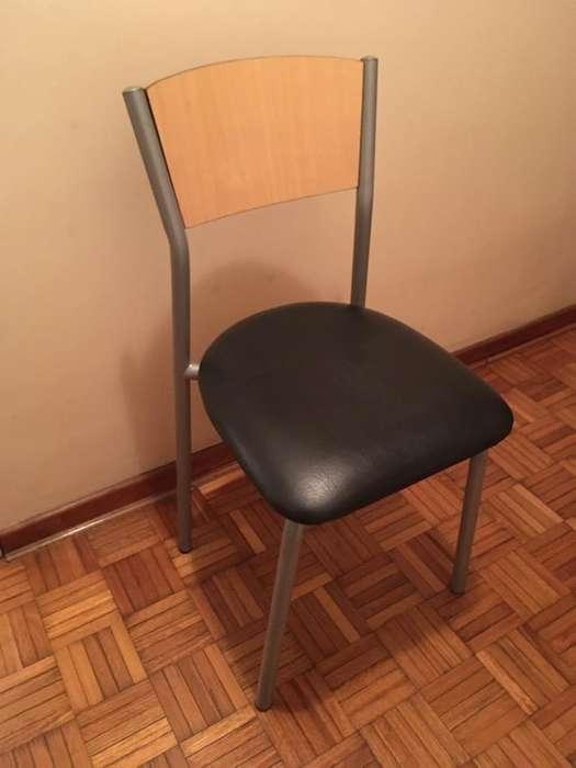 Combo de 4 <strong>silla</strong>s de caño, aglomerado y eco-cuero