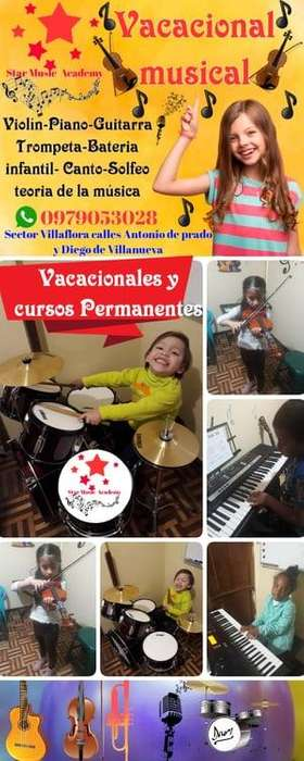 cursos vacacionales, cursos de música, clases de violín piano Guitarra Batería, maestros de música