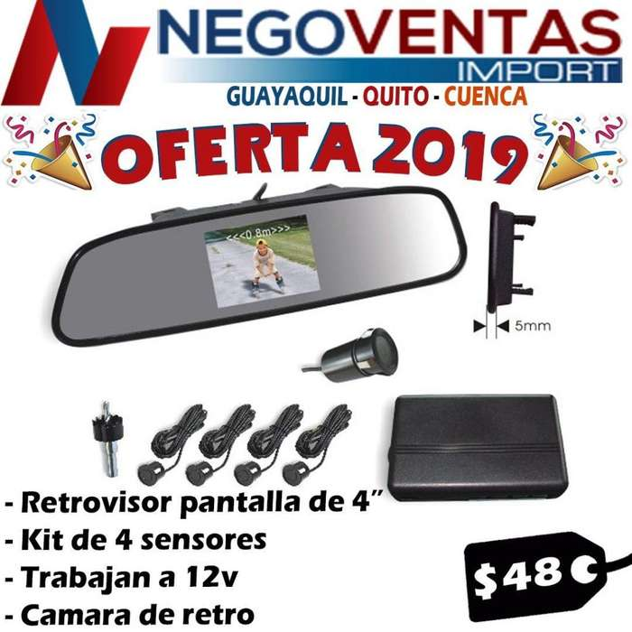PANTALLA RETROVISOR 4,5PULG ESPEJO CAMARA RETRO SENSOR DE PARQUEO DE OFERTA