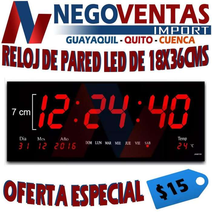 RELOJ DE PARED 18X36 CMS FECHA HORAS