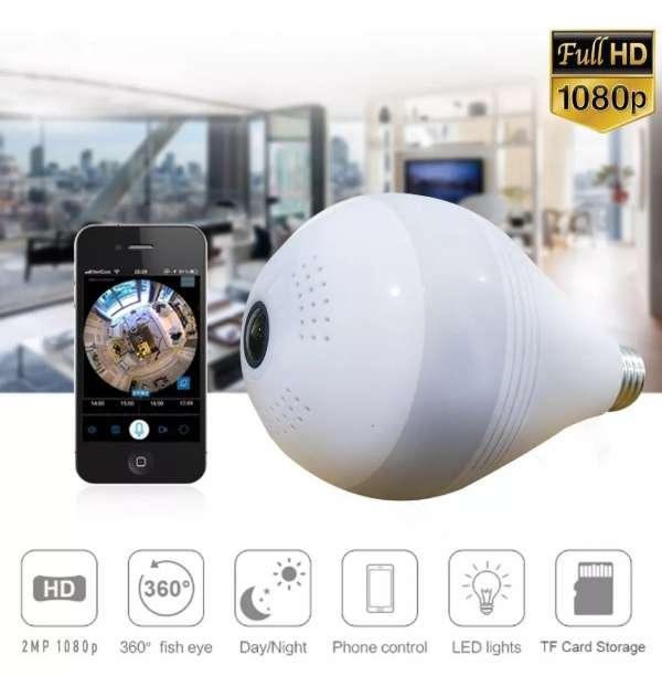 Cámara Ip Espia Panorámica 360 Tipo Bombillo Wifi 1080p