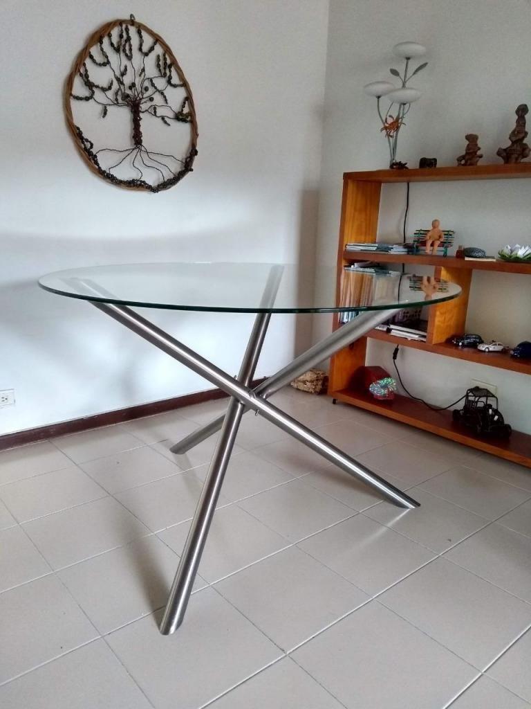 Mesa redonda para comedor o reuniones en acero y vidrio templado ...