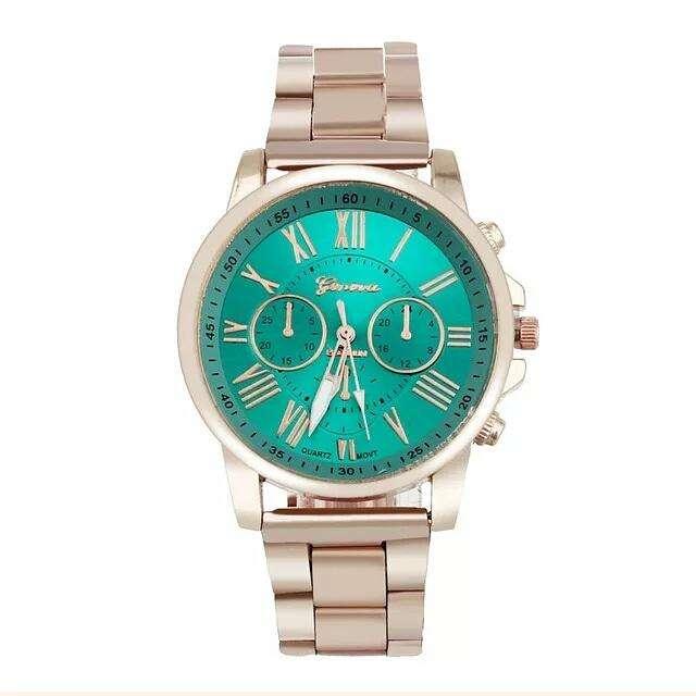 Reloj Geneva Metalico Rose gold con tablero Verde envio gratuito