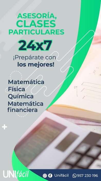 PROFESOR CLASES PARTICULARES DE MATEMÁTICA FÍSICA QUÍMICA MATEMÁTICA FINANCIERA NIVELACIÓN REPASO ADELANTO UNI