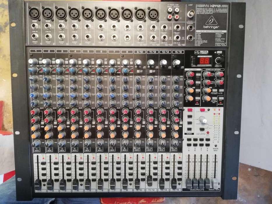 Mixer Behringer X2442 Usb micrófono Sm58