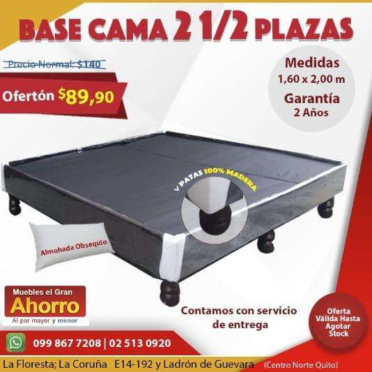 Base Cama 2 1/2 Plazas Sommie DOS Y MEDIA PLAZAS Queen Size