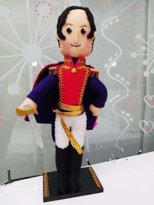 Simón Bolívar hecho 100% a mano en paño lency - fieltro de 30cm