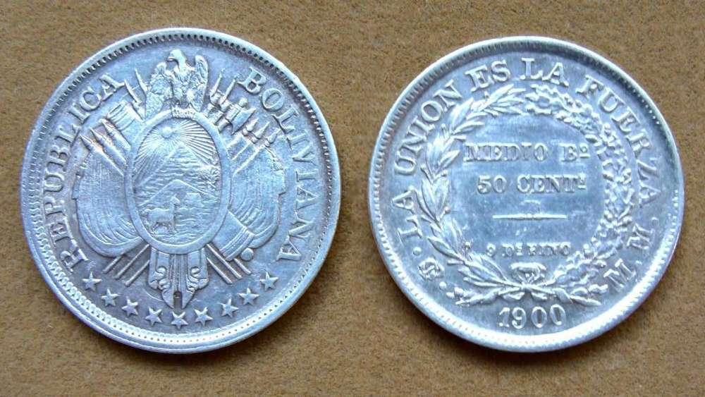 Moneda de ½ boliviano de plata Bolivia 1900