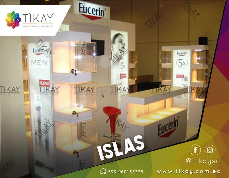 Elaboración y Construcción de Islas Publicitarias, Islas comerciales para Ferias y eventos de Publicidad.