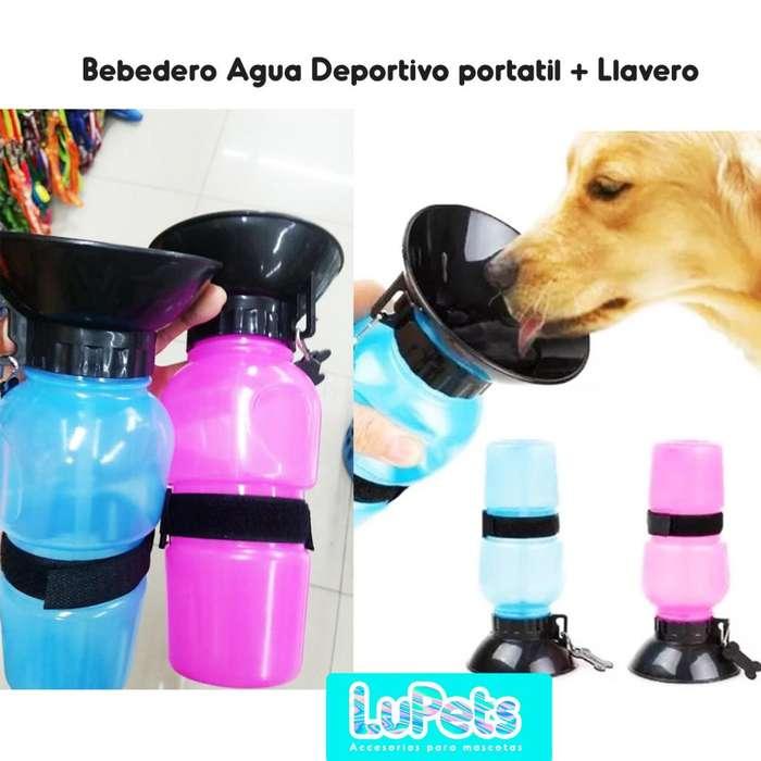termo bebedero agua deportivo portatil con llavero perro