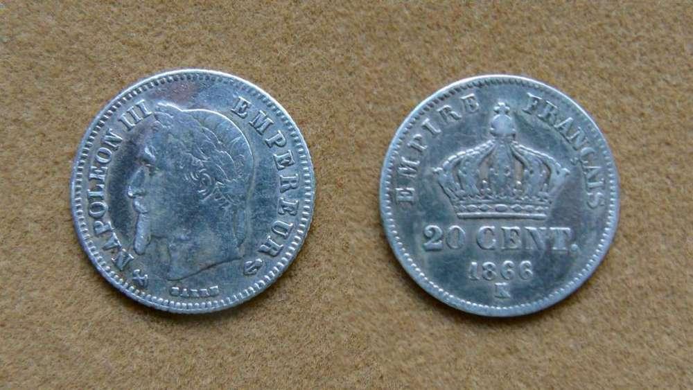 Moneda de 20 céntimos de plata Francia 1866