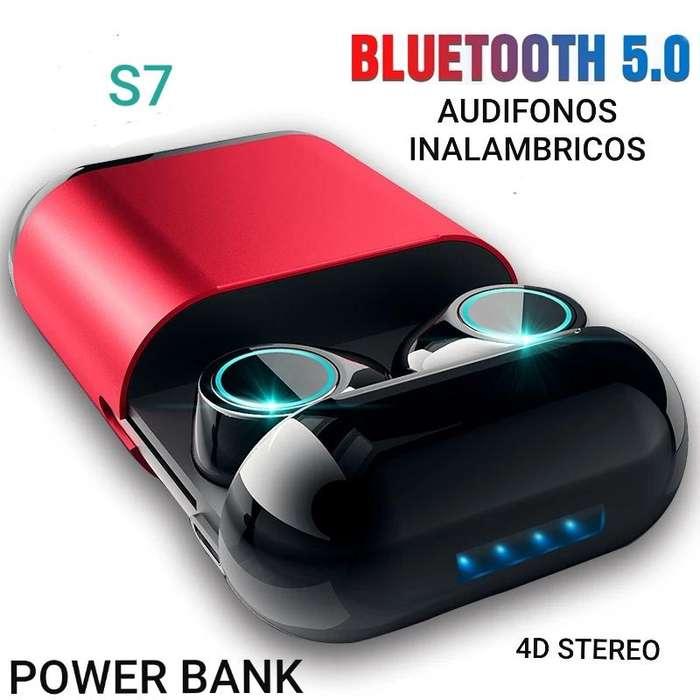 S7 Audifonos bluetooth 5.0 power bank 2019 ergonomicos sonido 4D alta calidad