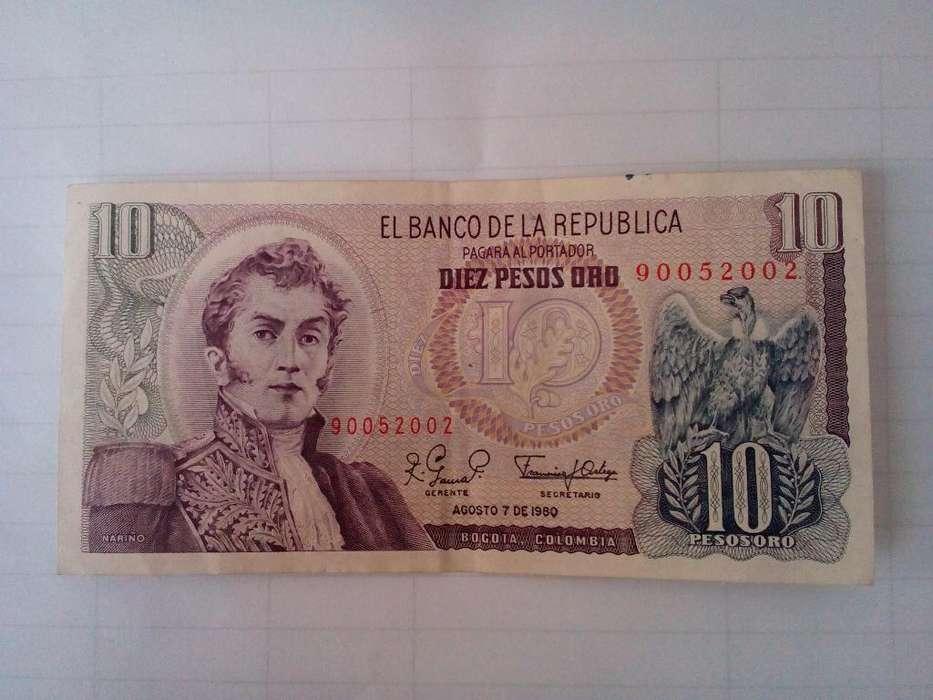 Colombia 10 Pesos 7 de Agosto 1980