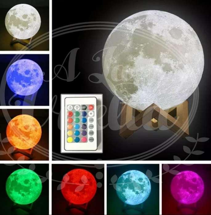 Lámpara Luna 3d Recargable 16 Colores