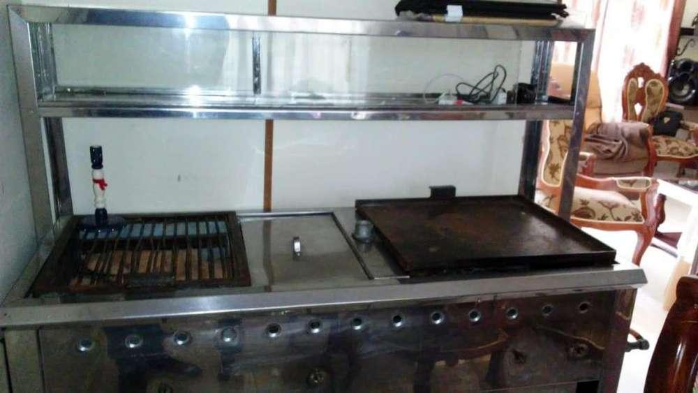 Estufa industrial con dos boquillas freidor y vitrina asador3113197157