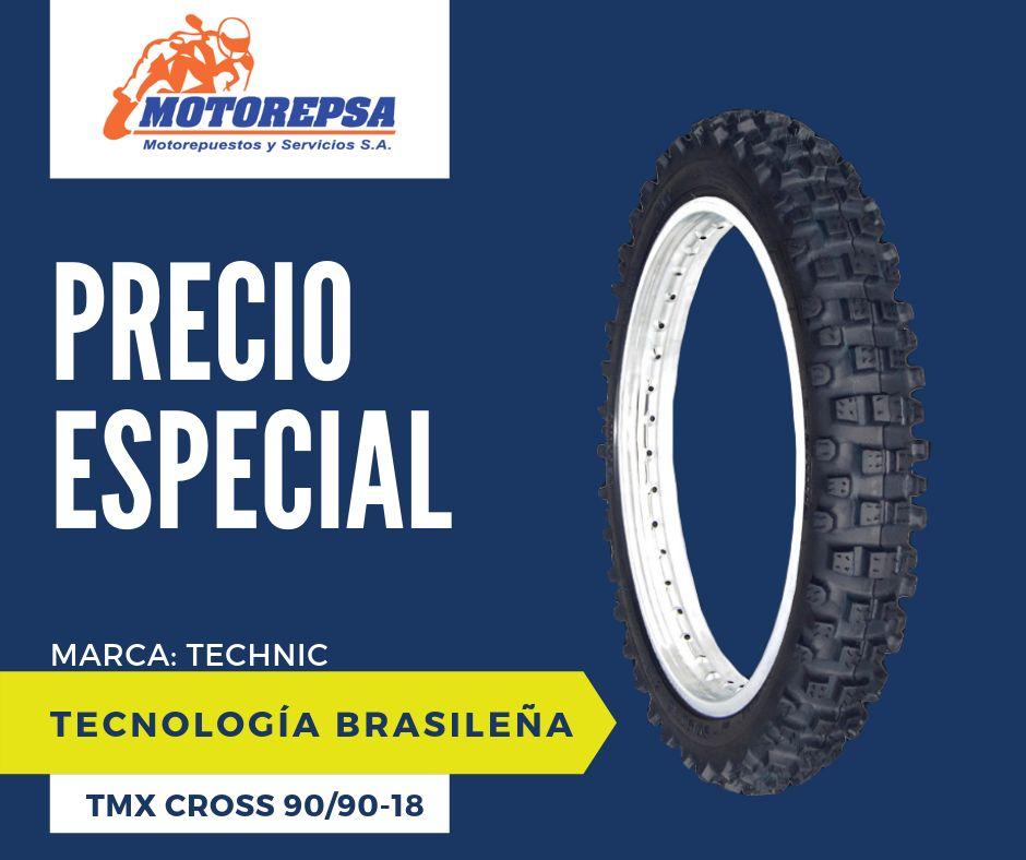 Llanta TECHNIC TMX CROSS 90/90 18 para Moto HONDA NX BROS 125/150, XTZ 150