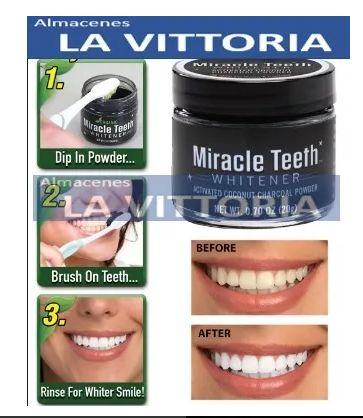 Carbon En Polvo Blanqueador Dental Miracle Teeth