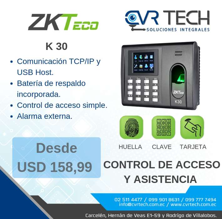CONTROL DE ACCESO Y ASISTENCIA ZKTECO K30