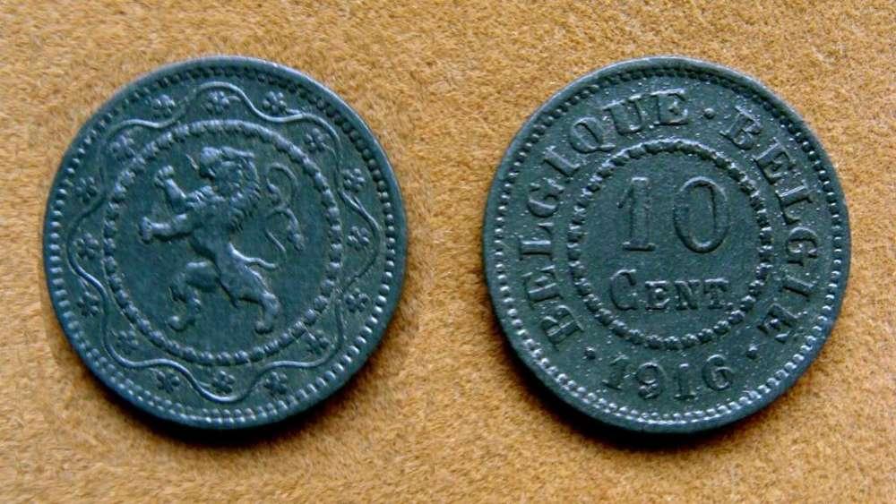 Moneda de 10 céntimos Bélgica ocupación Alemana 1916