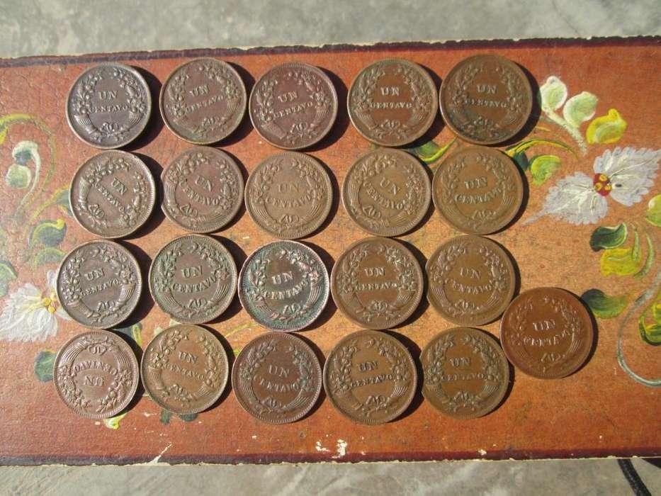 lote de 21 monedas de un centavo de cobre por años