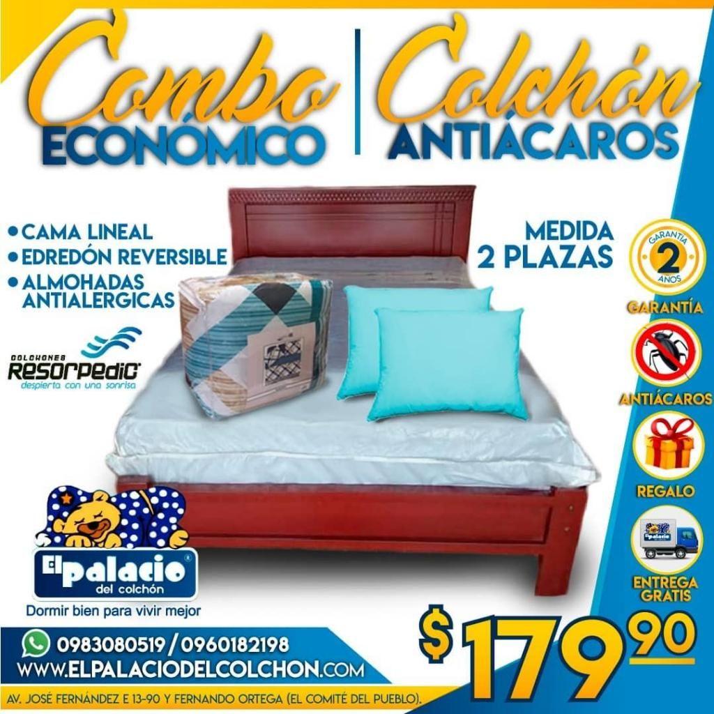 ((*COMBO 2 PLAZAS*)) Por solo 179.00 CAMA O BASE, COLCHONES, EDREDÓN ALMOHADAS Envío Gratis ((*LLAME 0983080519*))