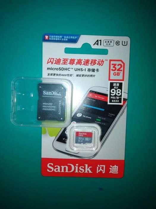 Memoria Micro SD Sandisk Ultra 32 Gb Clase10, Categoria A1, Velocidad 98Mbxs
