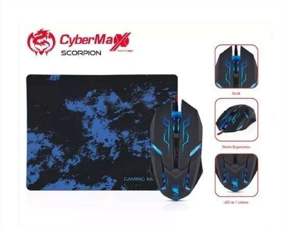 Pack Mouse Pad Gamer Usb 7 Led Cybertel Scorpion Lince