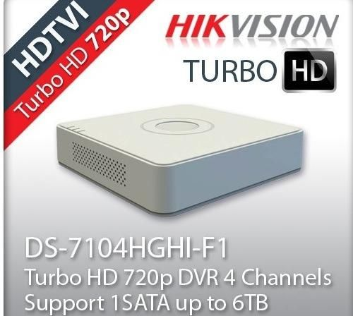 GRABADOR DE VIDEO DVR 4CH HIKVISION DS7104HGHIF1 TURBO HD 720p DE 4 CANALES BNC HDMI SATA