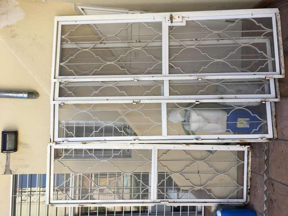 4 Puertas de hierro con mosquitero nuevo, 220x68 cm