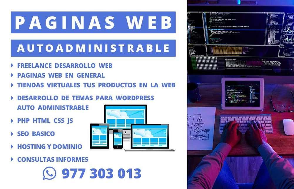 DISEÑO PAGINAS WEB, FREELANCE, PAGINAS PARA PYMES, TIENDAS VIRTUALES, AUTOADMINISTRABLES, HOSTING Y DOMINIO