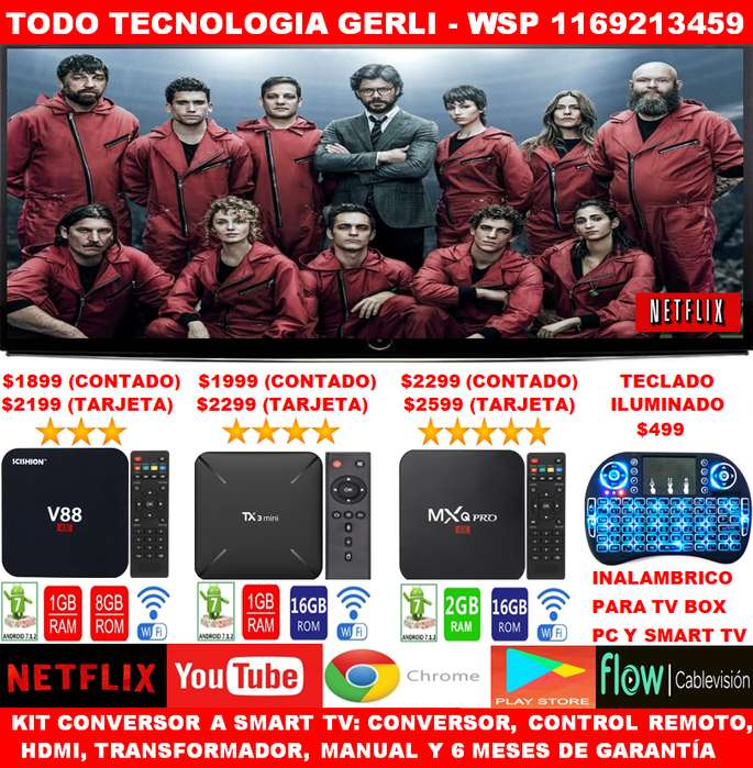 Convertidor A Smart Tv con Control Para Tv Tubo LCD LED Android Tv
