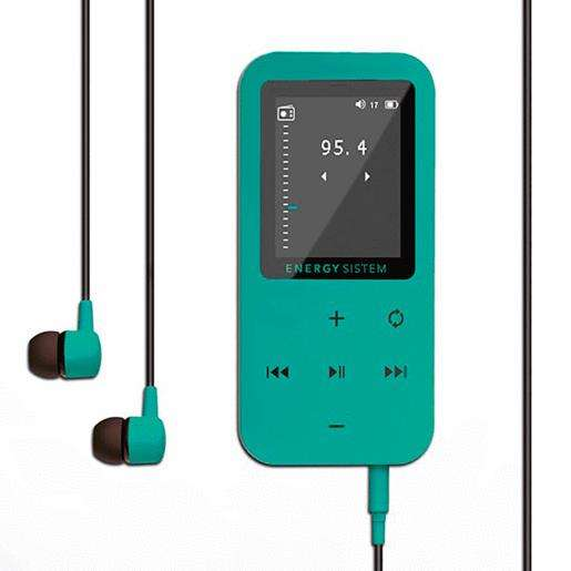 REPRODUCTOR <strong>mp4</strong> TACTIL CON BLUETOOTH 8GB ENERGY SISTEM EXPANDIBLE 64GB FM VERDE AGUA CON STICKERS