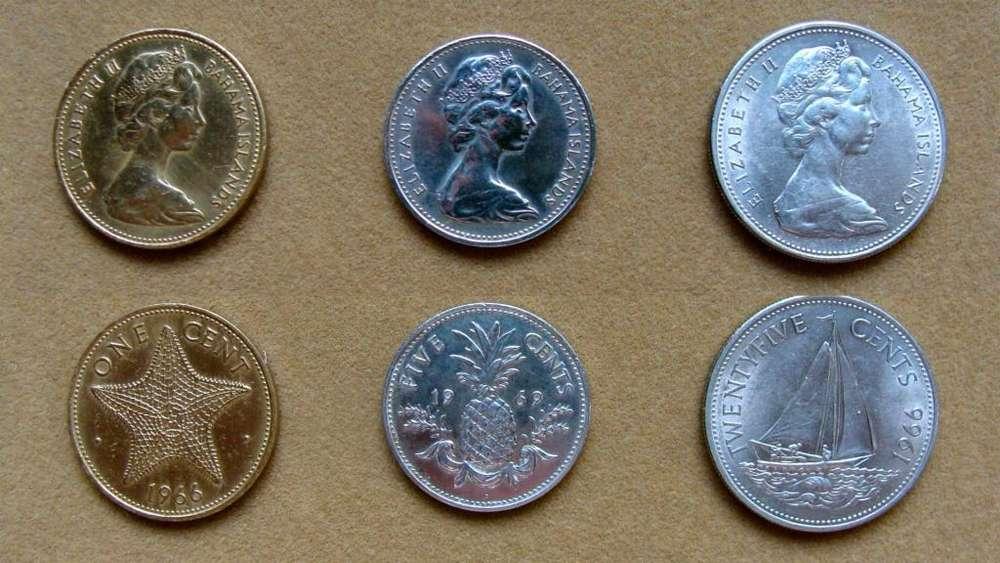 Monedas de 1, 5 y 25 cents Islas Bahamas 1966 1969