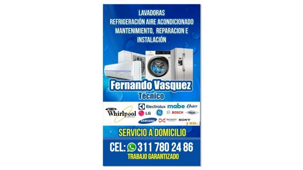 Técnico Profesional en Lavadoras y Refrigeración.