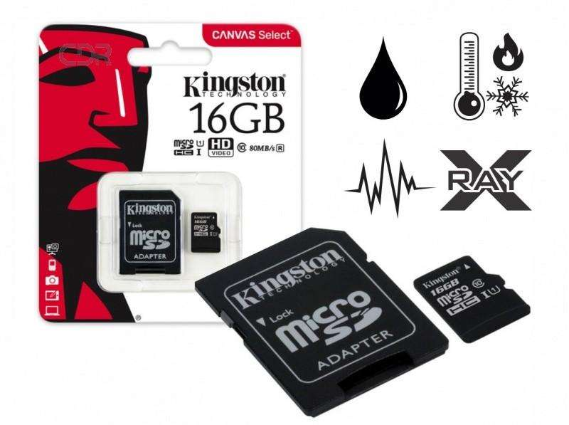 Memoria Micro Sd Kingston 16 Gb Clase 10 Canvas 80 Mb/