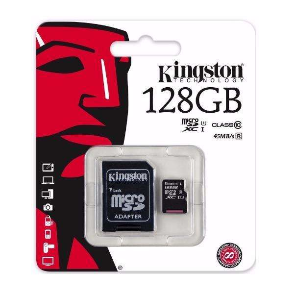 TARJETA DE MEMORIA MICRO SD 128 GB. KINGSTON CANVAS 80 MB/S CLASE 10 CON ADAPTADOR MICRO SD/MICRO SDHC CARD