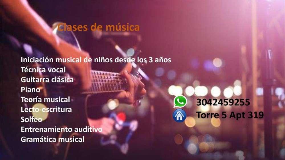 Clases de musica tecnica vocal, guitarra clasica, piano
