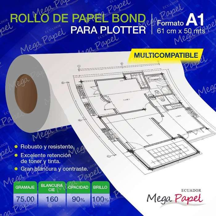 ROLLO <strong>papel</strong> PARA PLOTTER FORMATO A1 61CTMS X 50 MTS