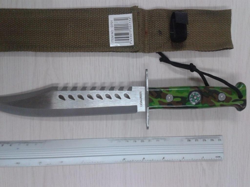 Cuchillo Militar Con Brujula Camuflado 34 Cm