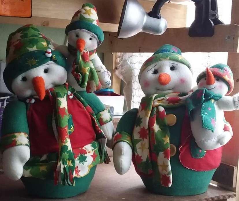 muñecos de navidad en tela