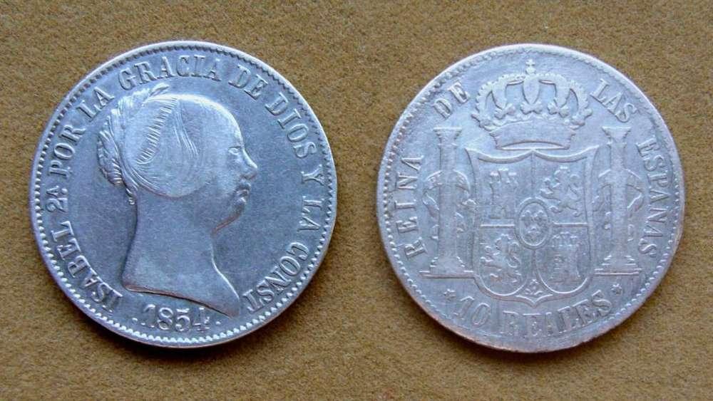 Moneda de 10 reales de plata, España 1854