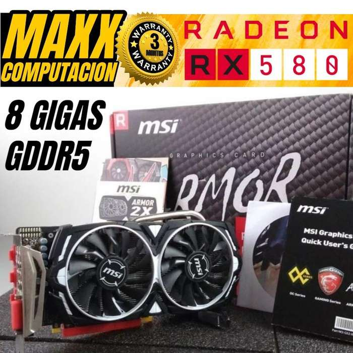 Placa Video Amd Radeon Msi Rx 580 8gb Armor Gddr5 256 Bits